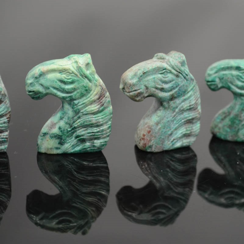 s39547 Stone Pendant -  Carved Imperial Horse - Teal Jasper (1)