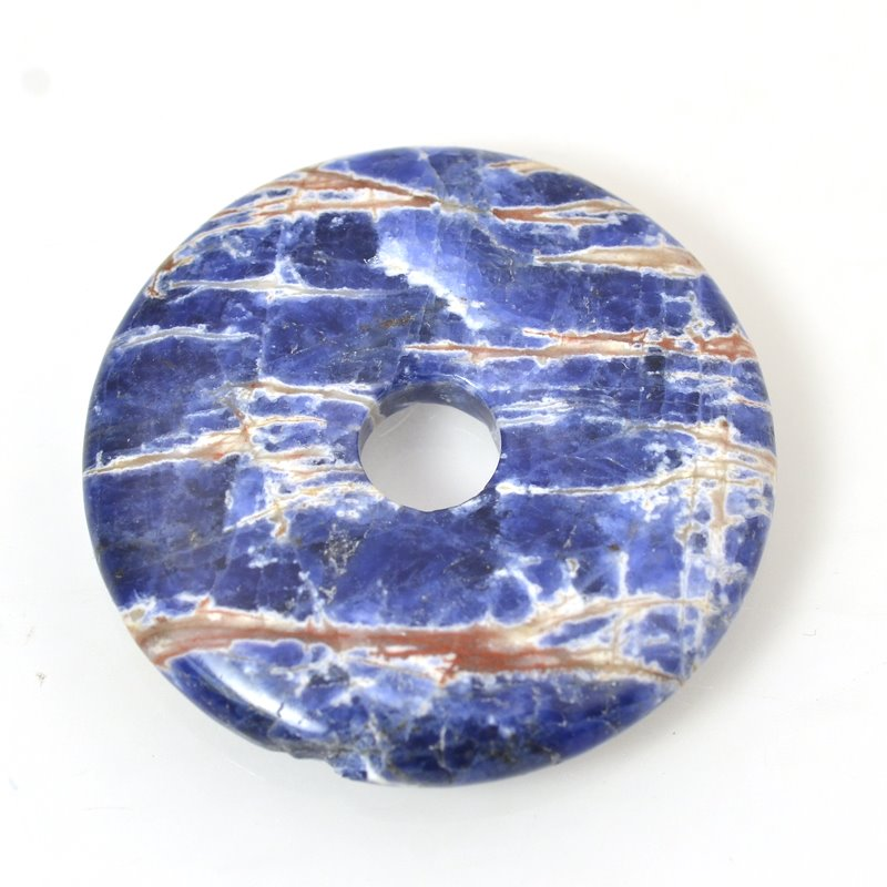 s39682 Stone - 50 mm Donut Pendant - Orange Sodalite (1)