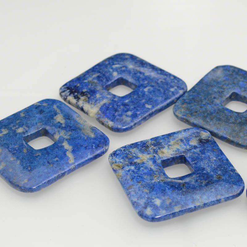 s39698 Stone - 50 mm Square Donut Pendant - Snowflake Lapis (1)