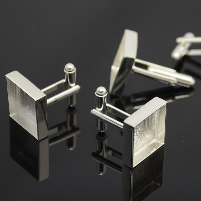 s39856 Bezels - 18 mm Square Cufflinks - Silver Plated (Pair)