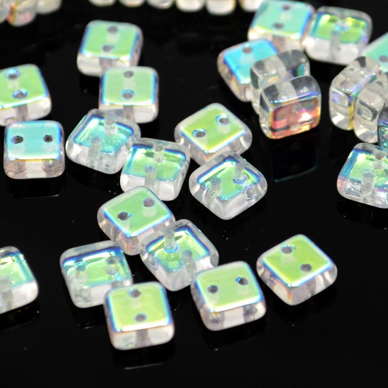 """s39953 Glass Beads - 2 Hole Chexx Squarelets - Crystal AB (25) <font color=""""#FF0000"""">Managers LAST CALL </font> 80% off!"""