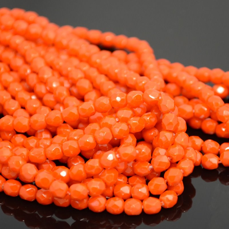 s40023 Firepolish - 4 mm Faceted Round - Ripe Orange (50)