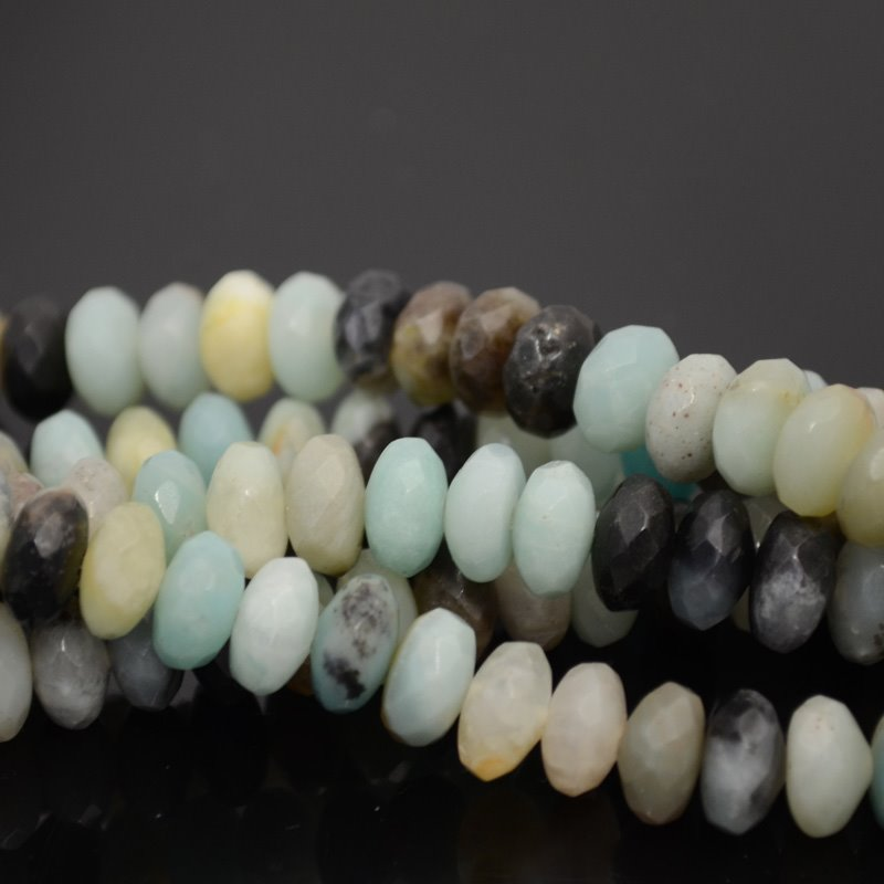 s40048 Stone Beads - 8 mm Faceted Rondelles - Black Gold Amazonite (strand)