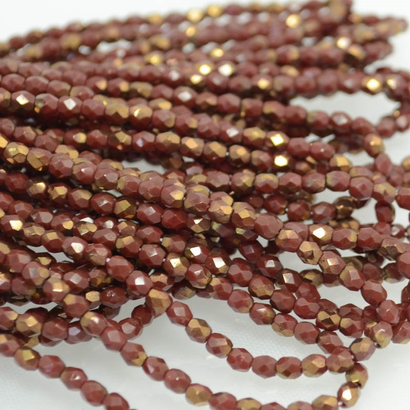 s40213 Firepolish - 3 mm Faceted Round - Mahogany Gold Lustre (100)