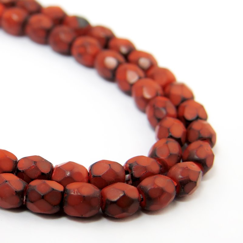 s40240 Firepolish - 3 mm Faceted Round - Coral Jet (100)