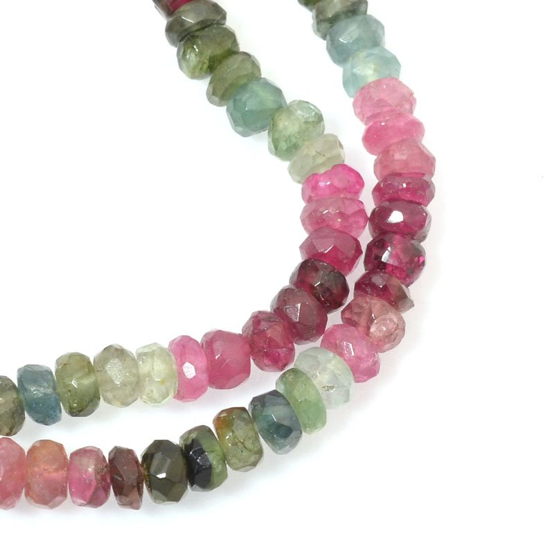s40272 Stone Beads - 4 mm Faceted Rondelle Donuts - Tourmaline - Multicolour Mix (strand)