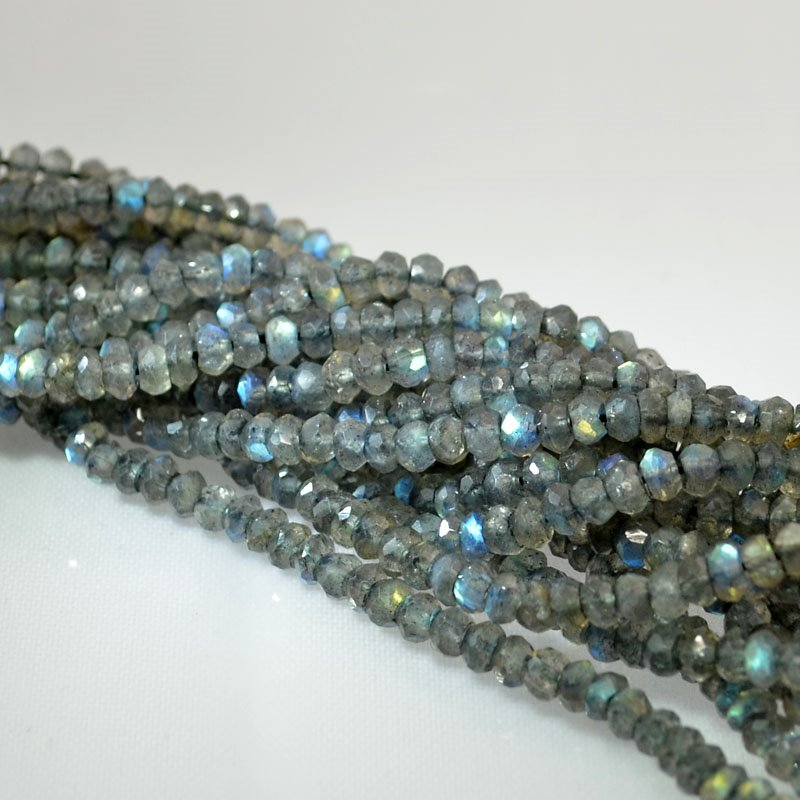 s40277 Stone Beads - 3.5-4 mm Faceted Rondelle Donuts - Labradorite (strand)
