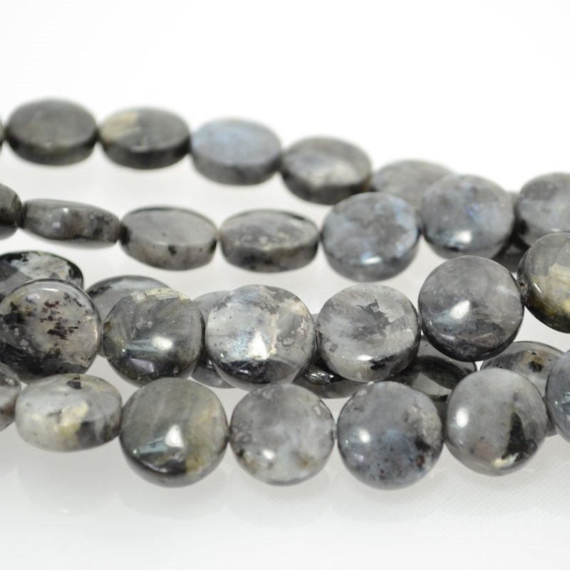 s40356 Stone Beads - 12 mm Coin - Larvikite (strand)