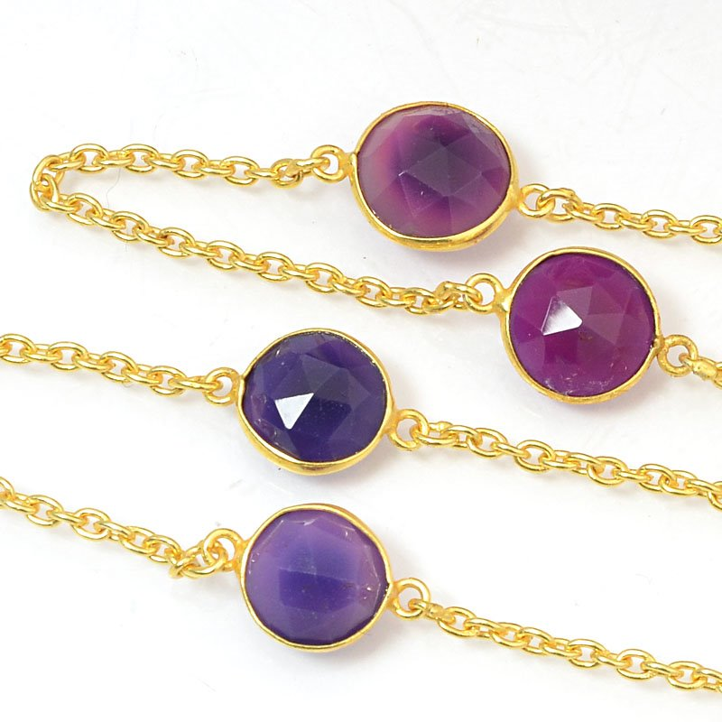 s40436 Gemstone Chain -  Mounted Faceted Stone - Berry Chalcedony / Gold Plated (foot)