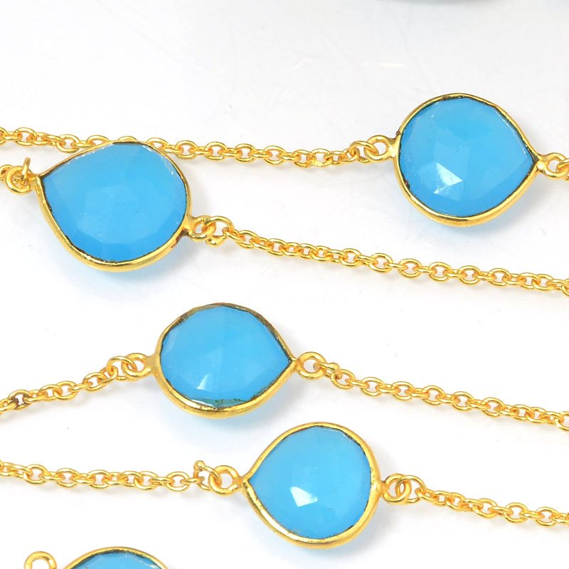 s40446 Gemstone Chain -  Mounted Faceted Stone - Aqua Chalcedony / Gold Plated (foot)