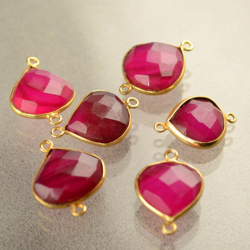 s40470 Gemstone Links - 15 x 20 mm Faceted Pear Drop / Channel Setting - Pink Tourmaline (1)