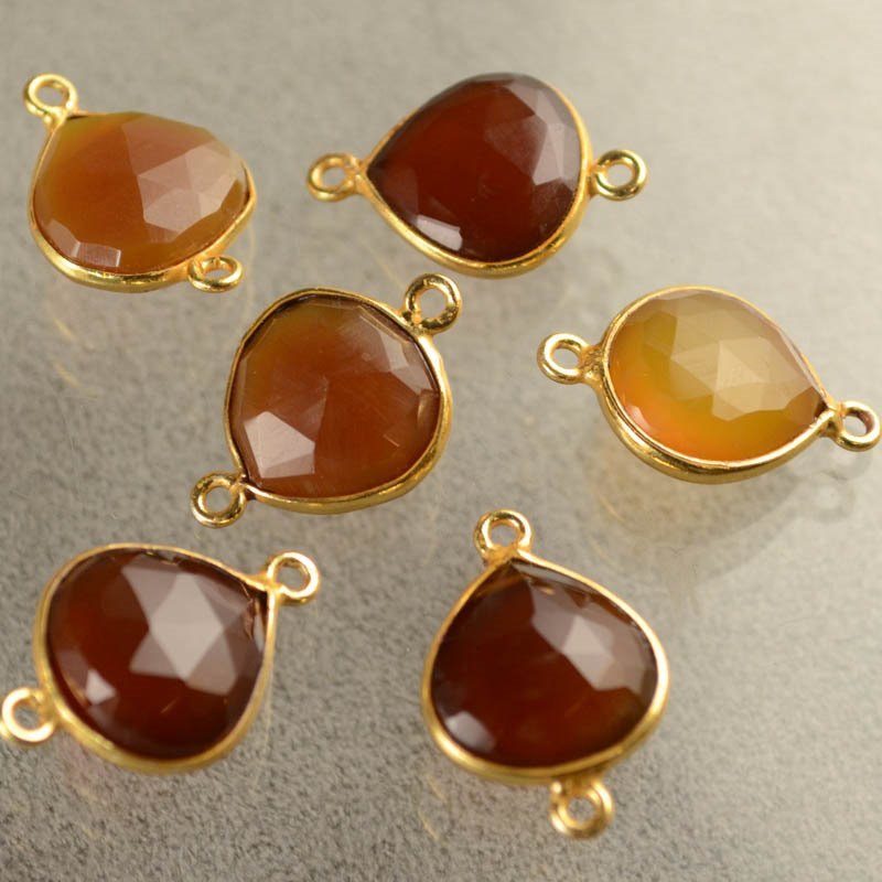 s40487 Gemstone Links - 13 x 18 mm Faceted Drop / Channel Setting - Carnelian (1)