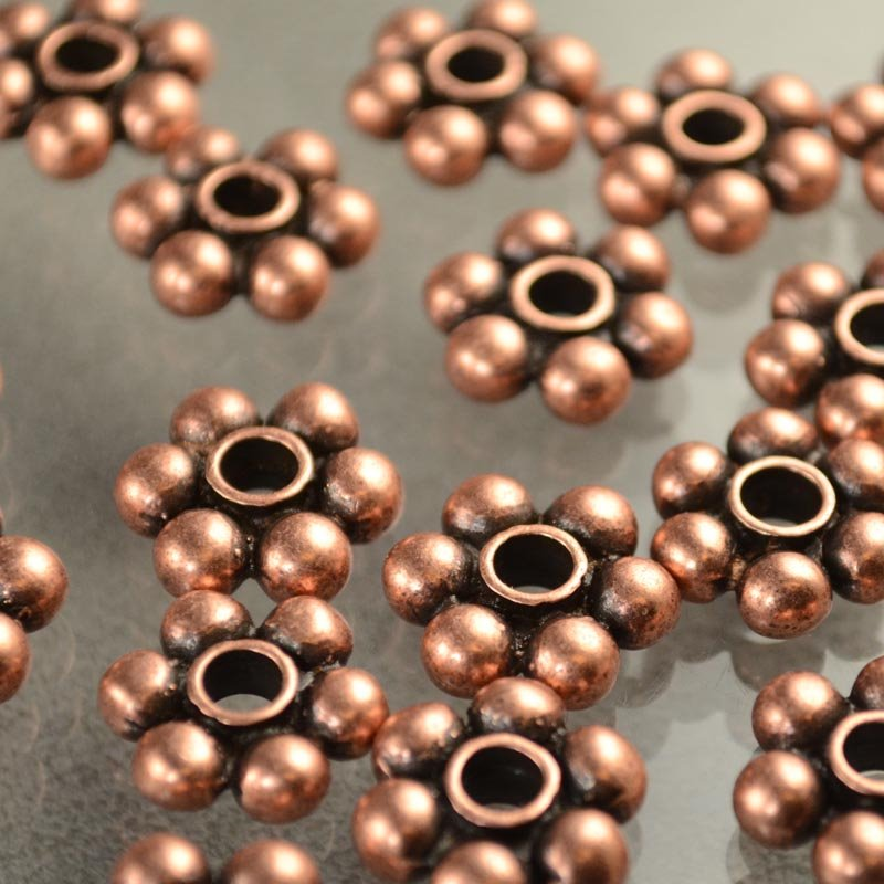 s40639 Metal Beads - Big Hole Big Balls Daisy Spacer - Antiqued Copper (1)