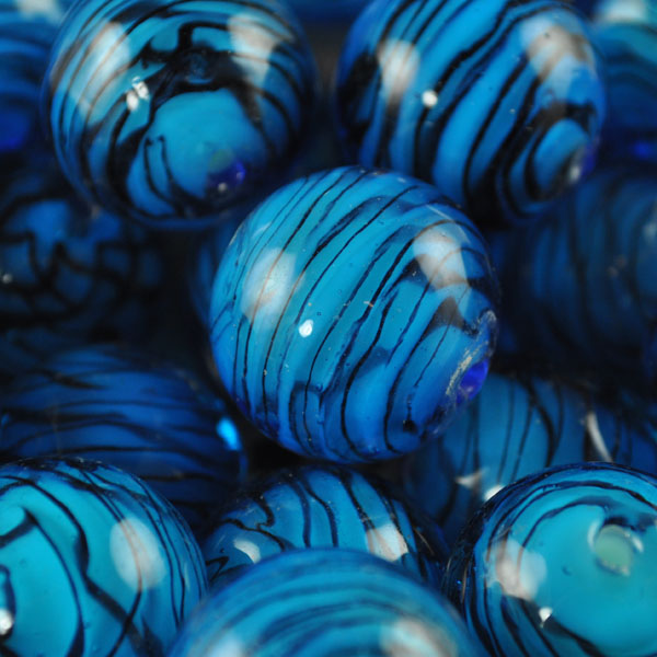 s40880 Glass - Vintage - 20 mm Jawbreakers - Aqua Swirl (1)