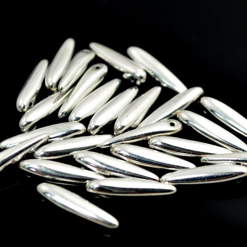 s40934 Glass Beads - 5 x 16 mm Thorns - Metallic Silver (25)