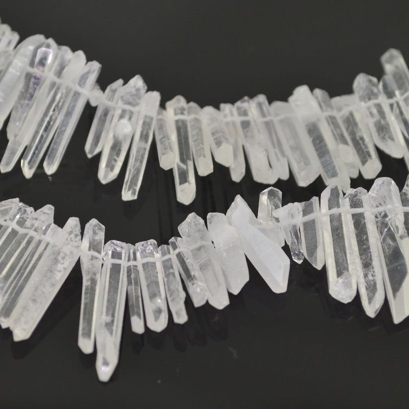 s41210 Stone Beads - 22 - 34 mm Crystal Spike - Rock Crystal Quartz (1)