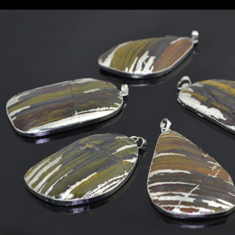 s41213 Stone Pendant -  Freeform Pendant - Iron Zebra Jasper /  Silver (1)