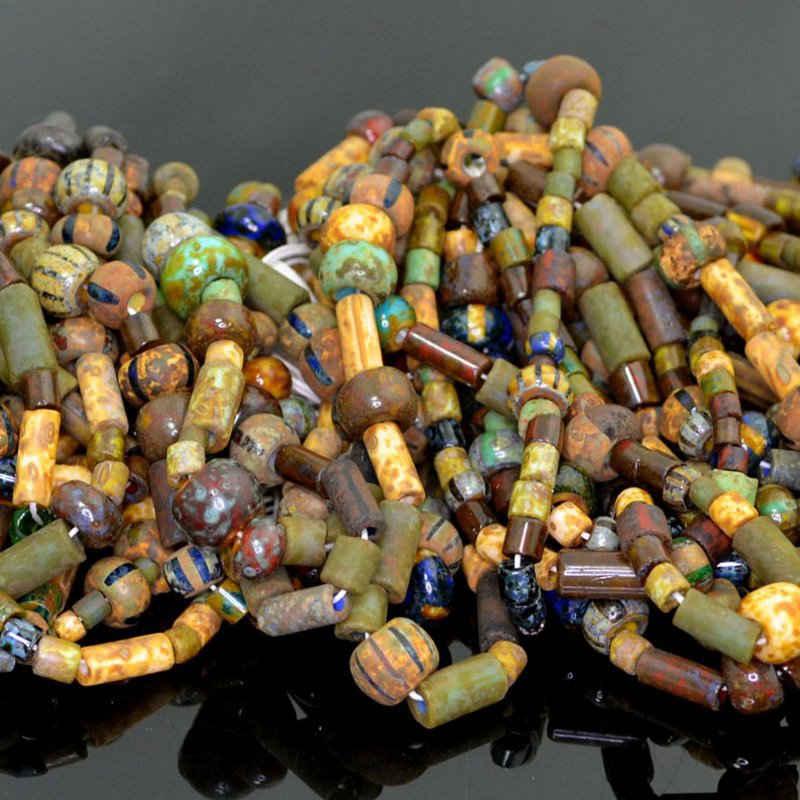 s41216 Czech Glass - Mixed 32/0s and Tubes - Warrior Spoils (strand)