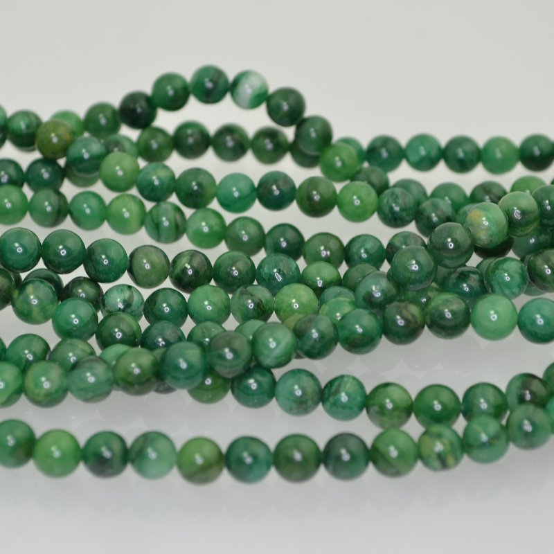 s41318 Stone Beads - 6 mm Round - West African Jade (strand)