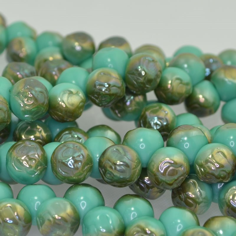 s41669 Glass Beads - 10 mm Rosebud - Green Turquoise Celsian (25)