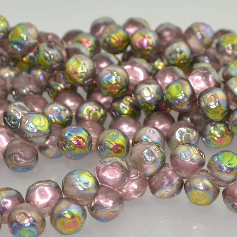s41673 Glass Beads - 10 mm Rosebud - Rose Vitrail (25)
