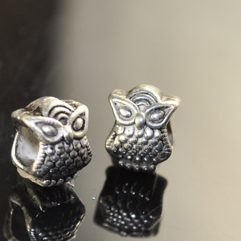 s41697 Metal Bead - Big Hole - ID 4.5 mm Cats Eye Owl - Antique Silver (2)
