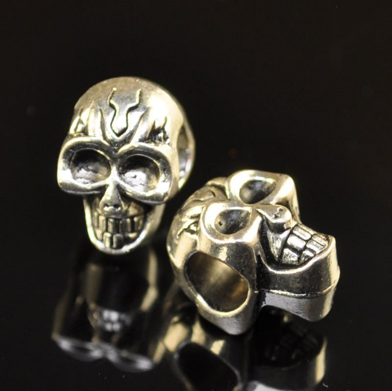 s41702 Metal Bead - Big Hole - ID 4.5 mm Flaming Skull - Antique Silver (2)