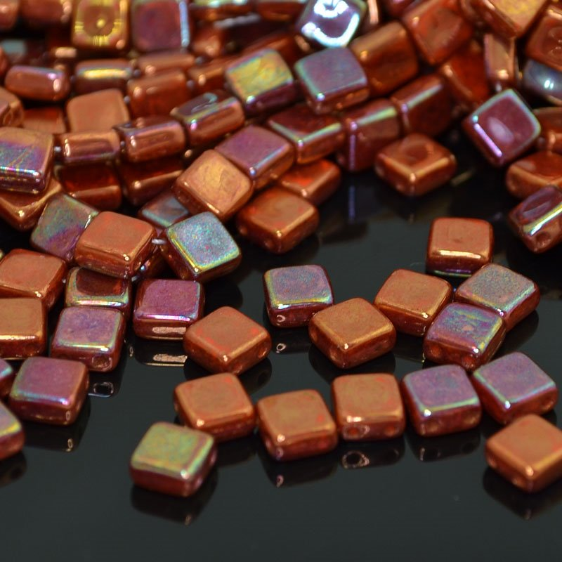 s41761 Glass Beads - 2 Hole Flat Square Tiles - Copper Iris (25)