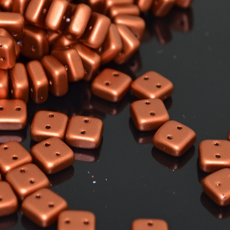 s41905 Glass Beads - Two Hole Chexx Squarelets - Silky Old Copper (25)