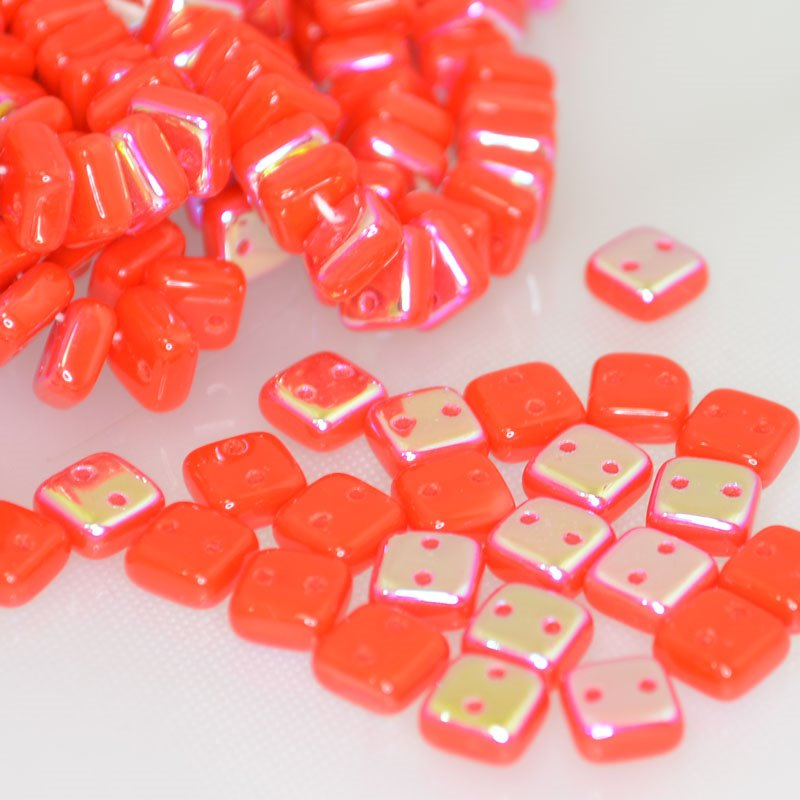 "s41908 Glass Beads - 2 Hole Chexx Squarelets - Orange Coral AB (25) <font color=""#FF0000"">Managers LAST CALL </font> 80% off!"