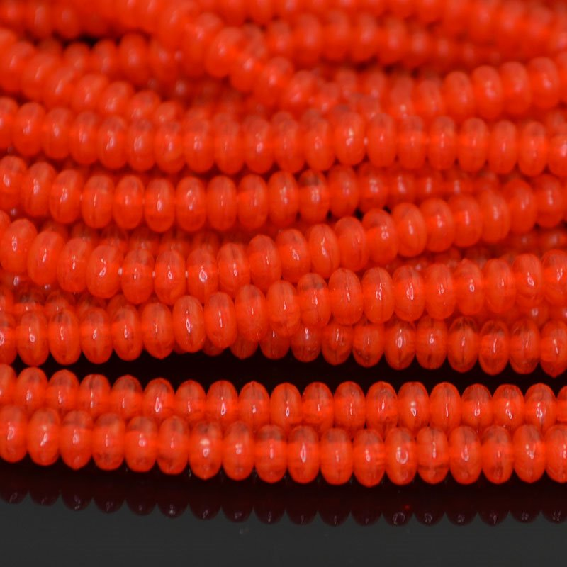 s41968 Glass Beads - 4 mm Tire Rondelles - Coral Opal (strand 100)
