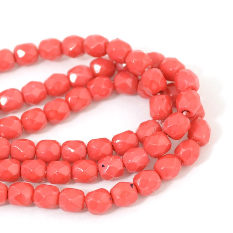 s41978 Firepolish - 4 mm Faceted Round - Vintage Coral (50)