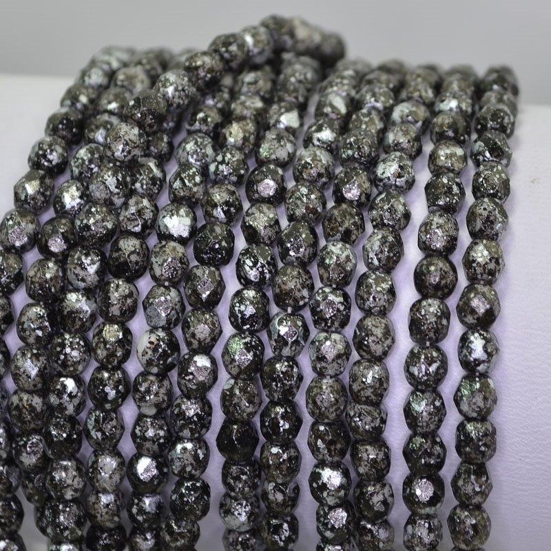 s42146 Firepolish - 4 mm Faceted Round - Galaxy Granite Black (50)