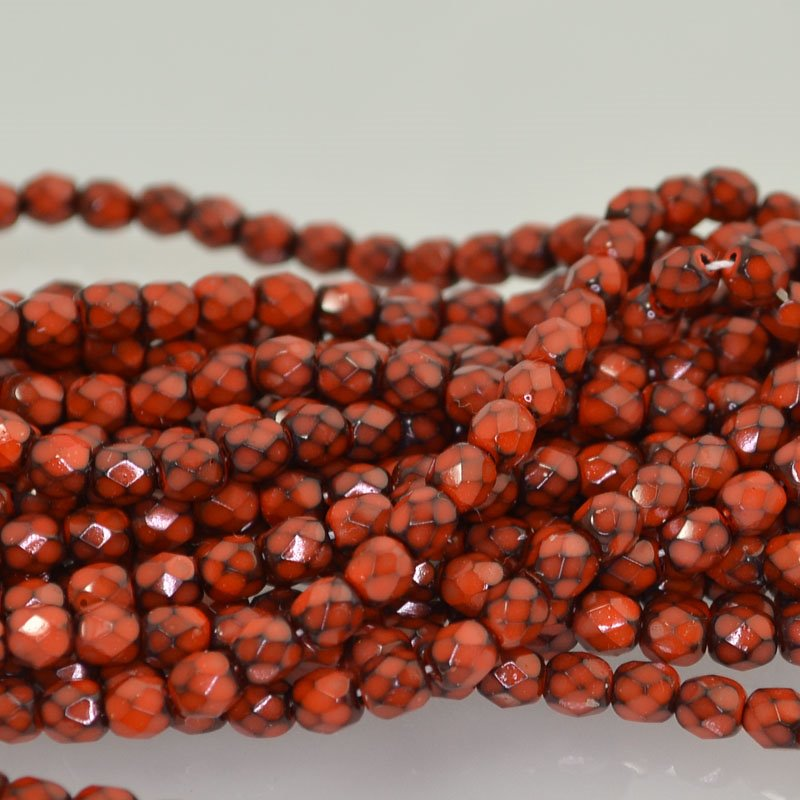 s42151 Firepolish - 4 mm Faceted Round - Coral Snake (50)