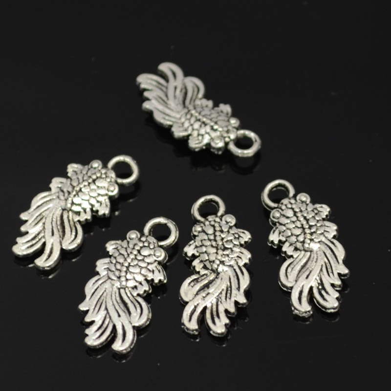 s42327 Metal Charm/Pendant - Thems Fightin Fish - Antiqued Silver