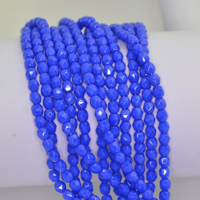 s42476 Firepolish - 4 mm Faceted Round - Intense Royal Blue (50)