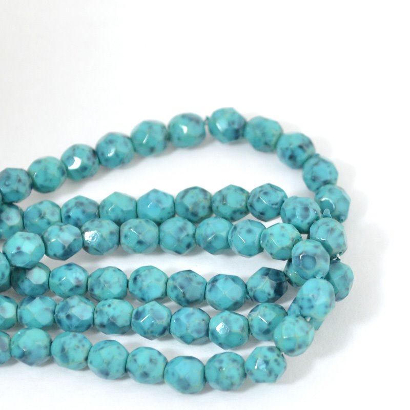 s42485 Firepolish - 4 mm Faceted Round - Turquoise Reloaded (50)