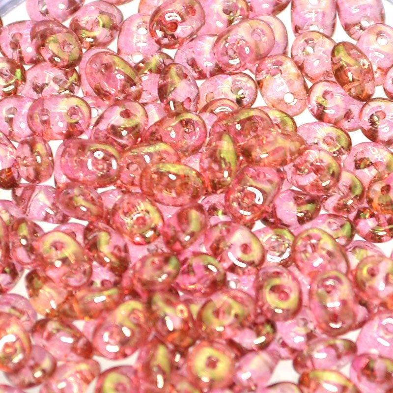 s42524 Czech Seedbeads - 2 Hole Superduos - Pink Gold Luster