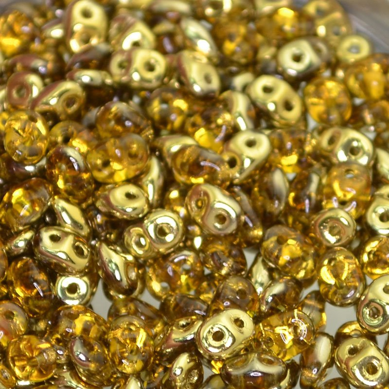 s42598 Czech Seedbeads - 2 Hole Superduos - Topaz Gold Half Coat