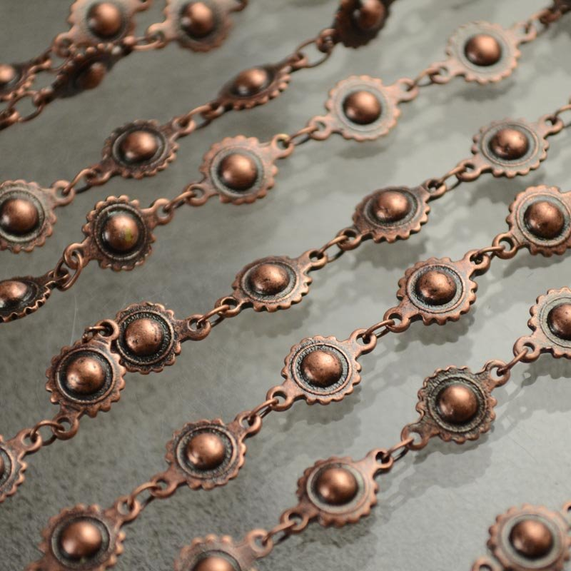 s43363 Chain -  Solar Disk - Antiqued Copper (Inch)