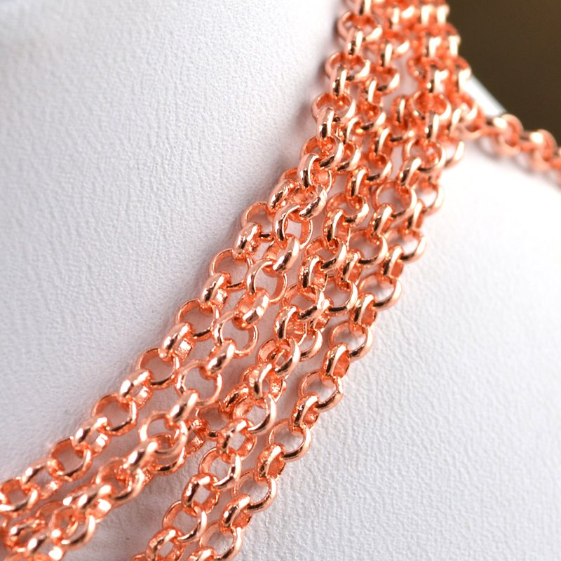 s43400 Chain - 3 mm Rolo Chain - Rose Gold Plated (Inch)