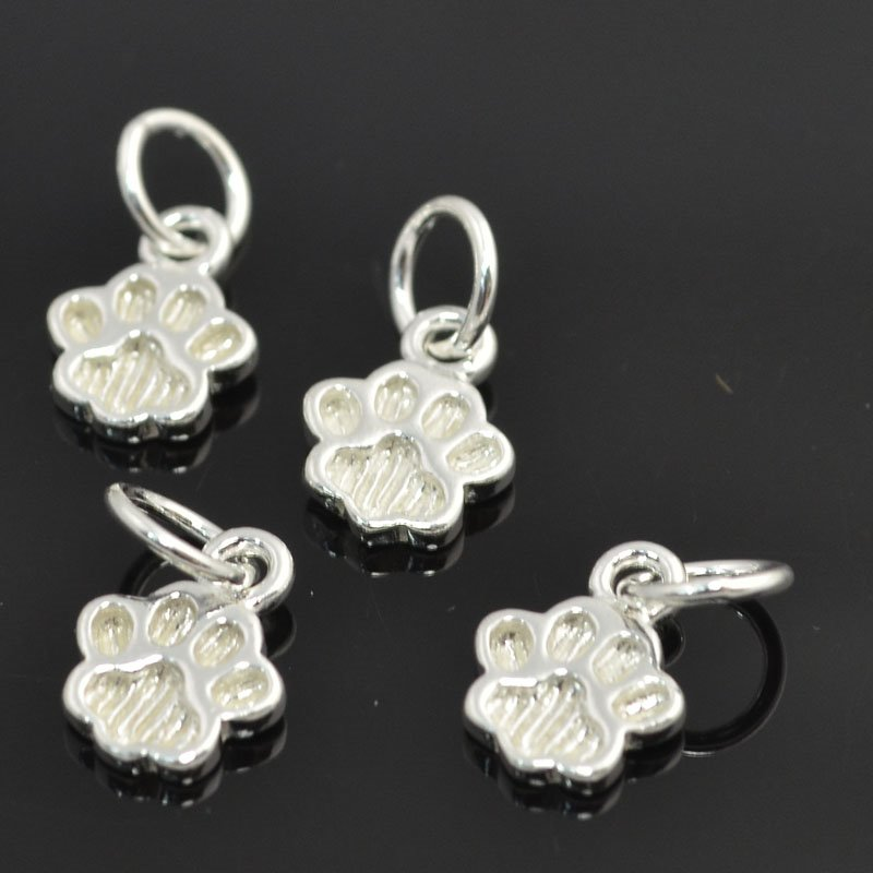 s43452 Charm/Pendant - Dog Paw Prints - Sterling Silver (1)