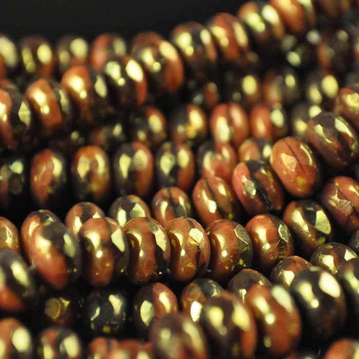 s43831 Firepolish - 8 mm Faceted Donut - Chocolate Choice (strand 25)
