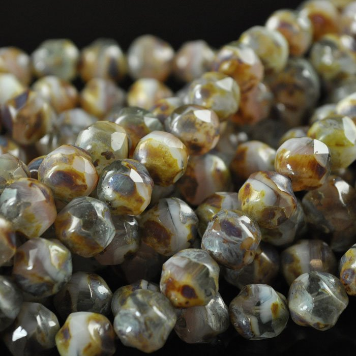 s43859 Glass - 8 mm Faceted Baroque Balls - Coconut Beach (25)