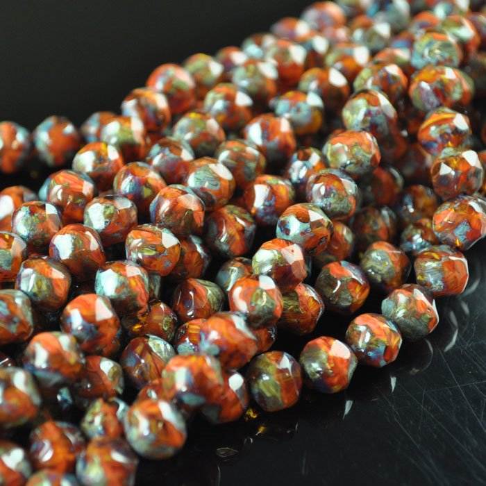 s43860 Glass - 7 x 8 mm Faceted Baroque Balls - Sweet Potato Pie (25)