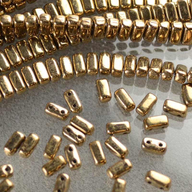 s43869 Glass Beads - Czechmates - 6 mm 2 Hole Bricks - Antique Gold (Strand 50)