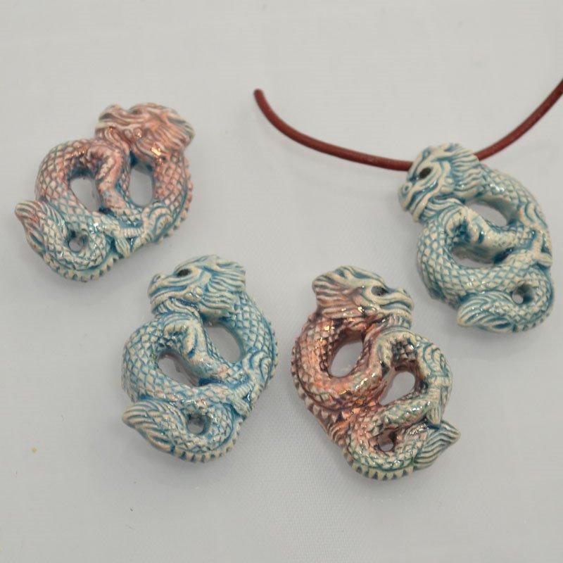 s43960 Ceramic Pendant -  Chinese Serpent Dragon - Raku (1)