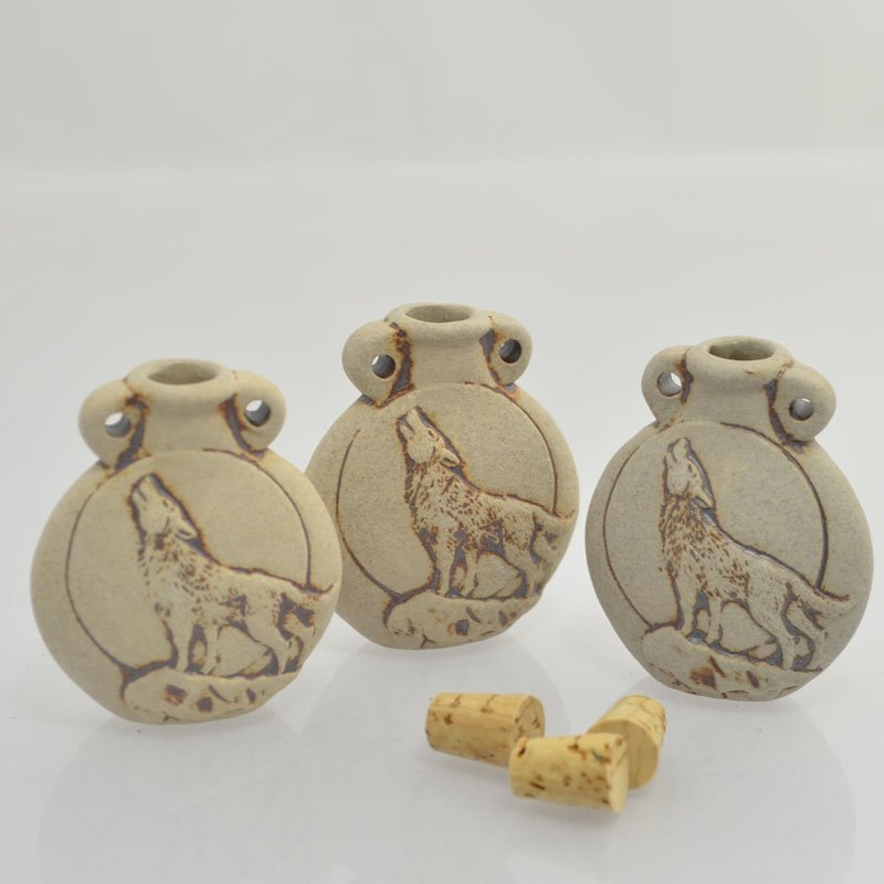 s43976 Ceramic Vessel / Bottle Pendant -  Howling Wolf - Unglazed Antiqued Bisque (1)