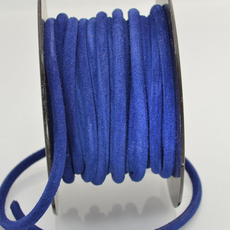 s43987 Leather - 5 mm Hollow Core Round Suede Leather - Royal Blue (Inch)