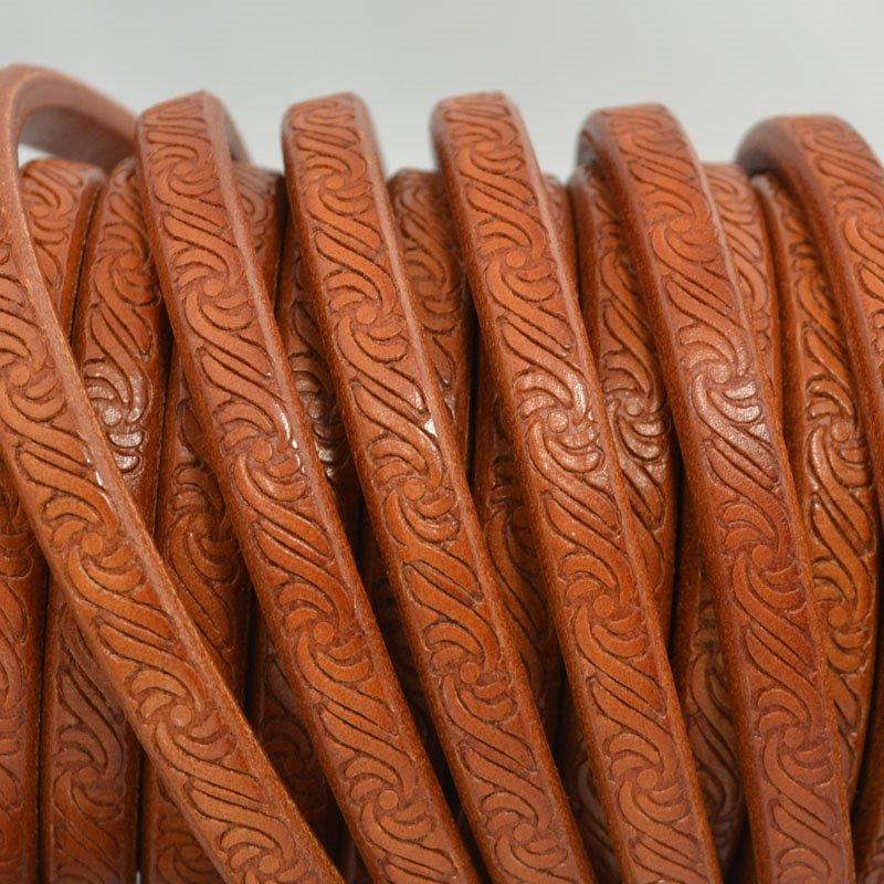s44012 Leather -  Regaliz - Embossed Swirls - Tan Saddle (Inch)